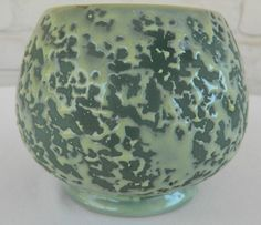 McCoy USA Rose Bowl Brocade Textured Chartreuse Marked G Mid Century Art Pottery