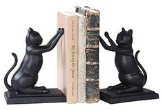 cast iron cat bookends for my cat-loving friends