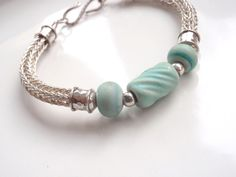 Aqua Viking Knit Bracelet Sterling Silver and Aqua Lampwork Beads 7 34 by GalleryMusings, $100.00 USD