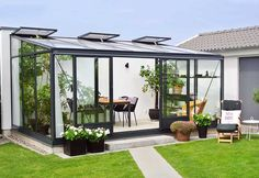 Greenhouse Kitchen, Green House Design, Front Deck, Spring Valley, Garden Pool, Glass House, Land Art, Sunroom, Pergola