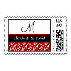 Red Zebra Flame Print Wedding Template Stamp #wedding #stamps #love #marriage #romance #bride #groom #jaclinart #love #postage #red #zebra #flame #print