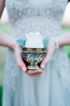 Pewter rose bud vase | Elisheva Golani Photography and Belle Soul Weddings |  see more on: http://burnettsboards.com/2015/05/romantic-dusty-blue-wedding/