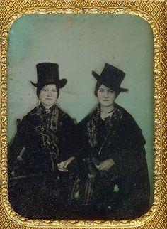 women in top hats   vintage victorian daguerreotype.