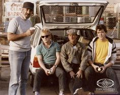 Special Effects Character Creation artists Stan Winston, Shane Mahan, John Rosengrant, and Tom Woodruff, Jr. take a break while filming THE TERMINATOR.