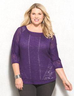 Plus Size Pointelle Sweater