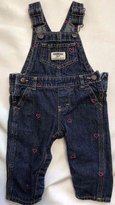 1d483dc42e9 OshKosh Vestbak Girls 6 Months Denim Overalls with Pink Heart Embroidery   OshKoshBgosh  Everyday Denim