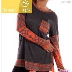 """CUTE ORANGE & BROWN AZTEC TOP Colorful Aztec top is very today! Pretty orange and brown designs compliment this style. Polyester with a hint of spandex. Made in the USAPLEASE DO NOT BUY THIS LISTING! I will personalize one for you. Bust: 52"""" hips 54"""" tla2 Tops"""