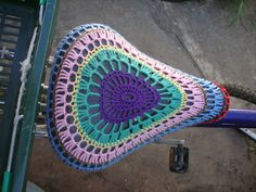 crochet bike seat cover--no pattern here, but an intermediate crocheter could suss this out I think