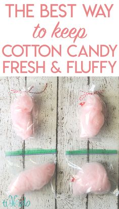 I did an experiment to discover the best way to keep cotton candy fresh and fluffy before a party. My results surprised me, but the information is very useful for making cotton candy favors! Homemade Cotton Candy, Cotton Candy Favors, Cotton Candy Cakes, Cotton Candy Party, Candy Party Favors, Wedding Candy, Cotton Candy Wedding, Wedding Favors, Candy Display