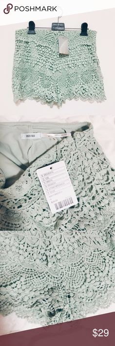 Urban Outfitters Mint Laced Shorts ✹ Urban outfitters // Kimchi Blue ✹ NWT ✹ Size: 4  ✹ Color: Mint ✹ Lacey high-waisted shorts with a side zipper Urban Outfitters Shorts