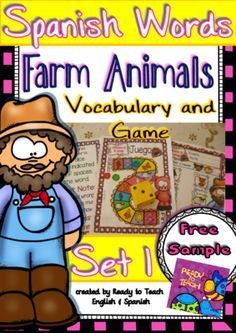 """Spanish Words - Vocabulary and Game - (Farm Animals) - Set 1 FREE from Ready to Teach English and Spanish on TeachersNotebook.com -  (10 pages)  - """"Spanish Words"""" is a set of Spanish vocabulary sheets related to a particular topic or holiday. It is an engaging and motivational resource for the Spanish classroom."""