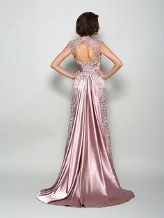 A-Line/Princess High Neck Sleeveless Long Elastic Woven Satin Mother of the Bride Dresses