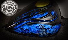 Online Motorcycle Paint Shop: Silver tribal flames with blue fire skulls