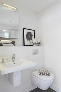 White Tile Bathroom Powder Room Design Ideas, Pictures, Remodel and Decor