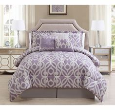11 Piece Queen Laugh Lavender/Taupe Bed in a Bag w/500TC Cotton Sheet Set