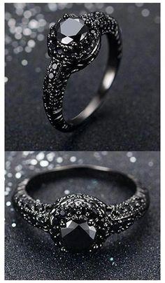 Wedding Rings Simple, Wedding Rings Vintage, Unique Rings, Vintage Rings, Beautiful Rings, Wedding Jewelry, Womens Black Wedding Rings, Inexpensive Engagement Rings, Matching Wedding Rings