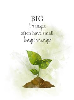Big Things Small Beginnings Quote ART PRINT Plant, Inspirational, Gift, Wall Art, Home Decor - Project. Motivational Quotes For Women, Cute Quotes, Positive Quotes, Art Prints Quotes, Quote Art, Plants Quotes, Quotes About Plants, Quotes About Flowers, Beginning Quotes