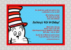 Dr Seuss/Cat in the Hat  Printable Invitations by SwishDesigns,
