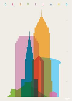 Yoni Alter. Original graphic art Shapes Of Cities: Cleveland