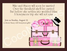 Items similar to RESERVED FOR Honeymoon shower invitations (girlie luggage) on Etsy Honeymoon Bridal Showers, Travel Bridal Showers, Honeymoon Fund, Honeymoon Gifts, Best Friend Wedding, Couple Shower, Bridal Shower Invitations, Wedding Parties, Bachelorette Parties