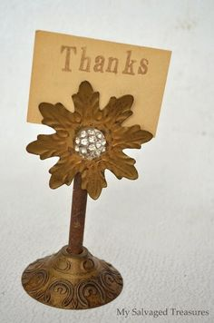 My Salvaged Treasures: Junky Flower Picture Holders flower held on with magnet
