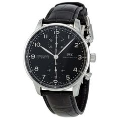 IWC Portuguese Black Dial Automatic Alligator Leather Mens Watch 3714-47 - http://watchesntime.com/iwc-portuguese-black-dial-automatic-alligator-leather-mens-watch-3714-47/