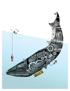 rom Hell's Heart Steampunk Ahab Stabs at Thee. Thé Illustration, Illustrations, Graphic Design Illustration, Arte Steampunk, Steampunk Artwork, Desenho Pop Art, Inspiration Art, Whale Art, Art Textile