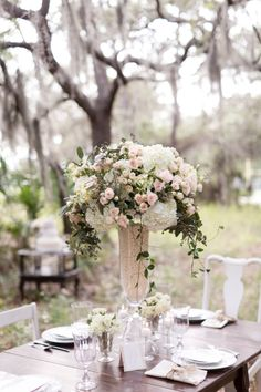 Beautiful pink and white rustic elegant centerpiece