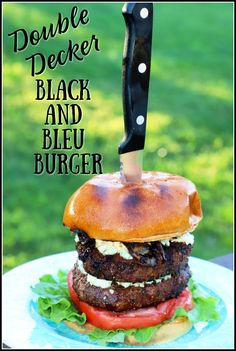 #AD It's BurgerMonth2020 and I am so excited to share my mouthwatering grilled beef burger creation with y'all. This double decker burger is crusted with homemade blackened seasoning and topped with tangy blue cheese and  delicious caramelized onions! Duck Recipes, Sandwich Recipes, Other Recipes, Beef Recipes, Vegan Recipes, Hamburger Recipes, Cheese Recipes, Delicious Recipes, Cookie Recipes