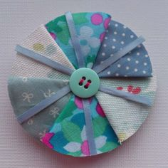 Light Blue Fabric Brooch by craftypainterShop on Etsy, £10.00