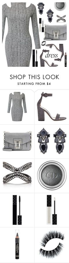 """Winter Grey Cold Shoulder Dress"" by deborah-calton ❤ liked on Polyvore featuring Gianvito Rossi, Proenza Schouler, Fallon, Christian Dior, Gucci and L'Oréal Paris"