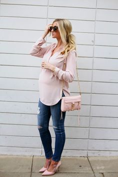 Oversized blush top / 27 Weeks.
