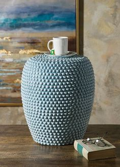 TY Cowboy Garden Stool - A hobnail ceramic garden stool in a soft denim blue is a must have from Trisha Yearwood