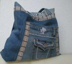 """Jeanstasche  Shopper  """"Kaktus"""" von Gasani  auf DaWanda.com"""