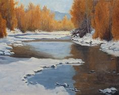 Mission Creek Early Snow by Rod McAuley Oil ~ 16 x 20