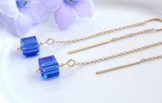 Gold Ear Threads Gold Threader Earrings with Sapphire Swarovski Crystal 14k Gold Filled Threader Earrings Sapphire Threader Earrings