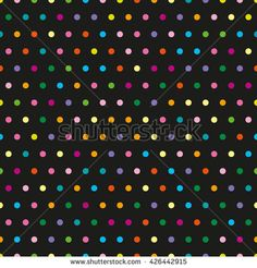 Pattern in the small dots. Tile vector pattern with color polka dots on black background