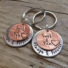 Set of Always & Forever Personalized Hand Stamped Penny Keychains, Anniversary Gift for Her, Valentine's Day Gift For Him, One Year – Valentines Day İdeas 2020 Hand Stamped Metal, Hand Stamped Jewelry, Romantic Gifts For Him, Gifts For Her, Best Valentine's Day Gifts, Anniversary Gift For Her, Valentines Day Gifts For Him, Always And Forever, Sister Gifts
