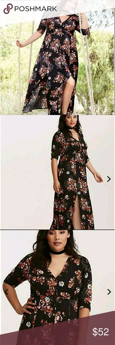 """New! 4x Torrid Floral Maxi Dress Highly sought after & sold out very quickly. Torrid Floral Maxi Dress in a size 4x. Flowy. Gorgeous. Buttons up. Crochet shoulders. Perfect with tall boots.  Measures 27"""" across the bust, 23.5"""" across the waist and 60"""" long down the back. torrid Dresses Maxi"""