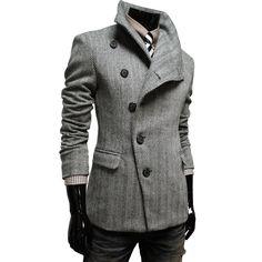 Mens Casual Unbalance Slim Wool Coat Jacket