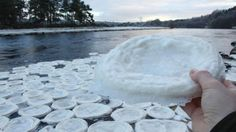 "Dozens of ""ice pancakes"" the size of dinner plates are found floating on a stretch of the River Dee in Scotland."