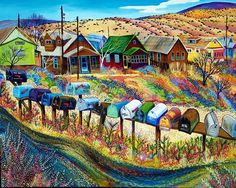 Miner's Row Madrid NM by Sally Bartos, New Mexico artist. Her work is available from bartos on Etsy.