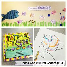 Pattern Fish! Students read the book Pattern Fish by Trudy Harris and create their own pattern fish to display!