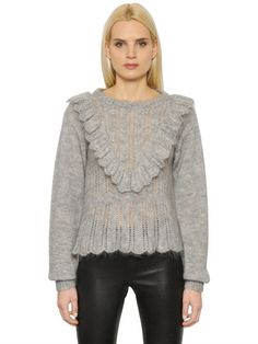 DESIGNERS REMIX MOHAIR WOOL SWEATER WITH RUFFLES, GREY. #designersremix #cloth #knitwear