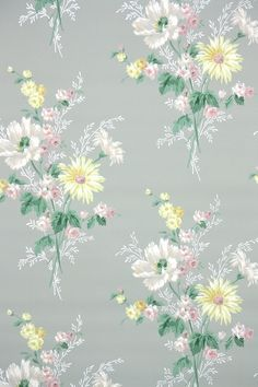 Thousands of authentic, old stock vintage wallpaper rolls; antique wallpaper printed in the and and retro wallpaper from the and Accent Wallpaper, Flowery Wallpaper, Antique Wallpaper, Retro Wallpaper, Vintage Wallpapers, Yellow Daisies, Pink Flowers, Peony Colors, Retro Floral