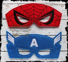 Inspired Embroidered Spiderman or Cpt. American pretend play mask, felt, inspired Superhero PICK ONE