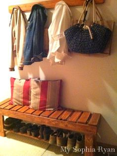 15 DIY Entryway Bench Projects • Tons of Ideas and Tutorials! Including, from 'my sophia ryan', this wonderful diy rustic bench made from pallets.