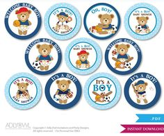 Sports Teddy Bear Cupcake Toppers for Baby by adlyowlpartyprints