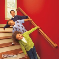 If you have a loose stair rail, a weak stair rail or no rail at all, fix the problem by installing a solidly anchored railing like we show here. Would your stair rail hold up to three energetic youngsters hanging on it like this? If you're not sure, or if you have stairways with missing rails, now's the time to fix the problem. More accidents happen on stairways than anywhere else in the house, and a strong stair rail goes a long way toward making stairs safer and easier to use. In this…