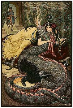 File:6 Marina lay upon a couch ... and fondled a fiery dragon with her right hand - Russian Fairy Book 1916, illustrator Frank C Pape.jpg